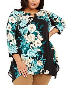 Plus Size Embellished Printed Tunic Top, Created For Macy's