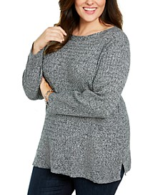 Plus Size Cotton Boat Neck Sweater, Created For Macy's