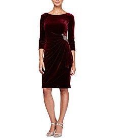 Ruched-Side Velvet Dress