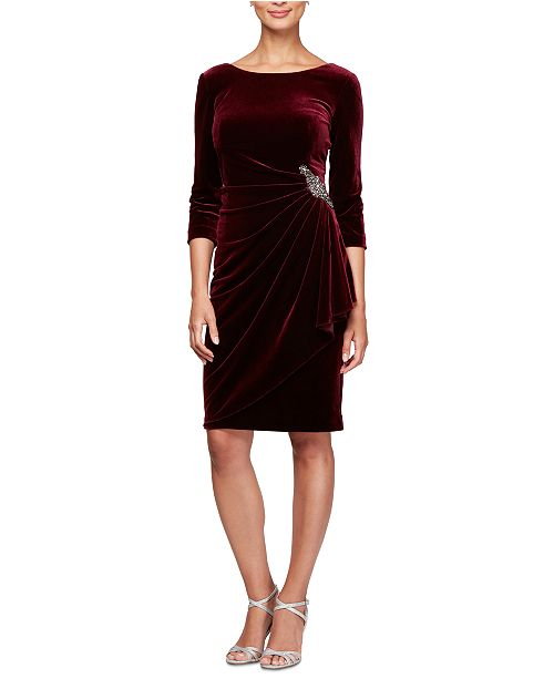 Alex Evenings Petite Side-Ruched Velvet Dress