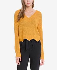 Knit Crop Top with Frayed Hem