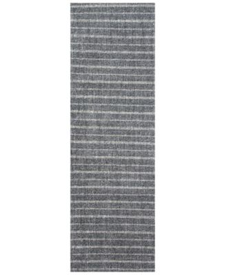 """Miles Stripe LRL6400A Charcoal 2'6"""" X 8' Runner Area Rug"""
