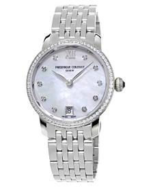 Frederique Constant Women's Swiss Slimline Diamond (5/8 ct. t.w.) Stainless Steel Bracelet Watch 30mm