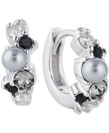 Swarovski Crystal & Imitation Pearl Huggie Hoop Earrings in Sterling Silver