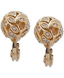 Anne Klein Gold-Tone Pavé Filigree Ball Clip-On Button Earrings
