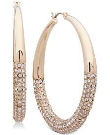 """Anne Klein Medium Gold-Tone Pavé Tapered Hoop Earrings 2"""""""