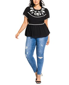 City Chic Trendy Plus Size Floral Escape Embroidered Peplum Top