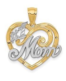 #1 Mom Heart Charm 14k Yellow Gold and Rhodium