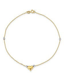 Puffed Heart with Beads Anklet in 14k Yellow and White Gold