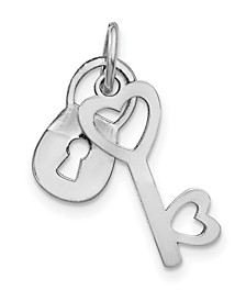 Lock and Key Charm in 10k White Gold