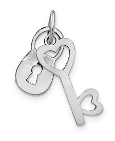 Lock and Key Charm Necklace in 10k White Gold