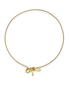Heart and Key Anklet in 14k Gold