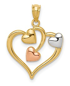 Three Hearts Pendant in 14k Yellow and Rose Gold over Rhodium