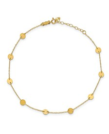 """Disc Anklet with Adjustable 1"""" Extender in 14k Yellow Gold"""