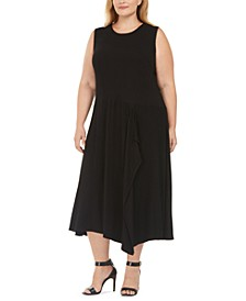 Plus Size Spliced Handkerchief-Hem Dress