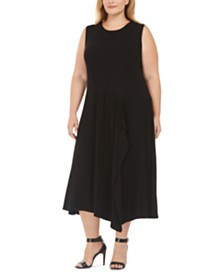 Calvin Klein Plus Size Spliced Handkerchief-Hem Dress