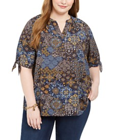 Michael Michael Kors Plus Size Printed Tie-Sleeve Top