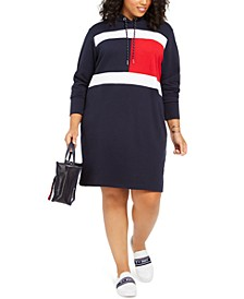 Plus Size Flag Hoodie Dress