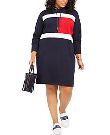Plus Size Flag Hoodie Dress