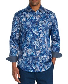 Tallia Men's Slim-Fit Stretch Floral Long Sleeve Shirt