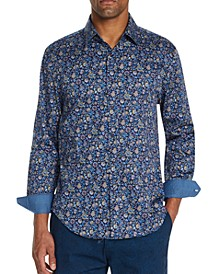 Men's Slim-Fit Stretch Floral Long Sleeve Shirt