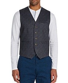 Men's Slim-Fit Stretch Plaid Heather Knit Vest