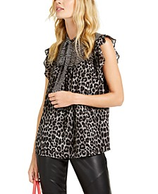 Mixed Animal-Print Top