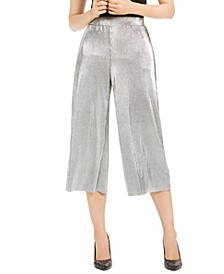 Pleated Metallic Cropped Pants, Regular & Petite