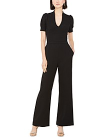 Puff-Sleeve Wide-Leg Jumpsuit