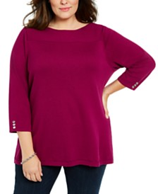 Karen Scott Plus Size Ribbed Ballet Neck Cotton Sweater, Created For Macy's
