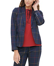 Windowpane-Print Elbow-Patch Jacket