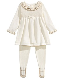 Baby Girls 2-Pc. Ruffled Sweater & Ballerina Tights Set, Created For Macy's