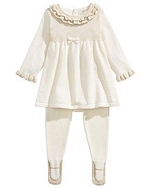 First Impressions Baby Girls 2-Pc. Ruffled Sweater & Ballerina Tights Set, Created For Macy's