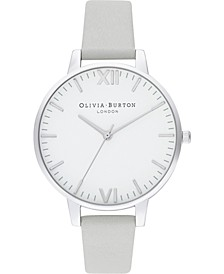 Women's Timeless Gray Leather Strap Watch 38mm