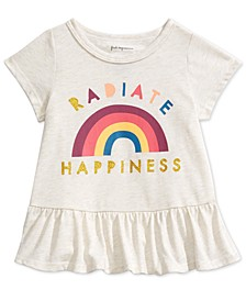 Toddler Girls Happiness-Print Peplum T-Shirt, Created For Macy's