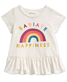 First Impressions Baby Girls Happiness-Print Peplum T-Shirt, Created For Macy's