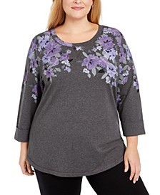 Plus Size Floral Print Sweatshirt, Created For Macy's