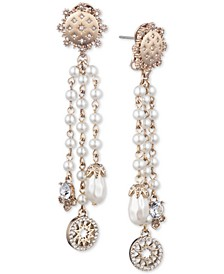 Gold-Tone Imitation Pearl & Crystal Fringe Drop Earring