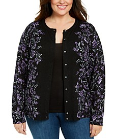 Plus Size Printed Button-Front Cardigan, Created for Macy's