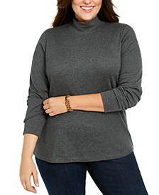 Plus Size Cotton Mock Neck Sweater, Created For Macy's