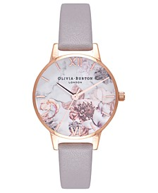Women's Marble Floral Gray Lilac Leather Strap Watch 30mm