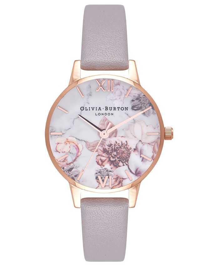 Olivia Burton - Women's Marble Floral Gray Lilac Leather Strap Watch 30mm