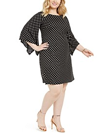 Plus Size Dot-Print Bell-Sleeve Dress