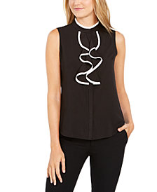 Calvin Klein Sleeveless Piped-Ruffle Button-Up Blouse