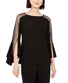 Sparkle-Mesh Bell-Sleeve Top