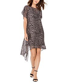 Leopard-Print Chiffon Flyaway Dress