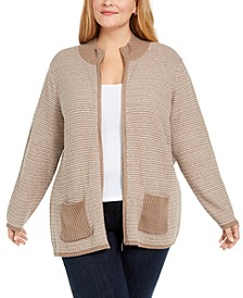 Plus Textured Zip-Front Cardigan, Created for Macy's
