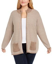 Karen Scott Plus Textured Zip-Front Cardigan, Created for Macy's