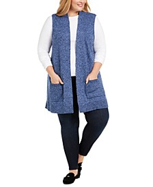 Plus Size Duster Sweater Vest, Created For Macy's