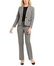 Petite Plaid One-Button Pant Suit